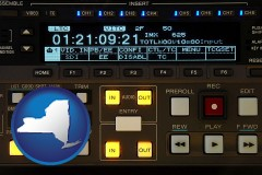 new-york map icon and a videotape editing console