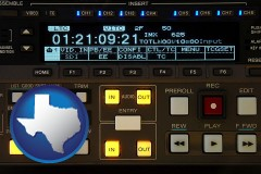 texas map icon and a videotape editing console